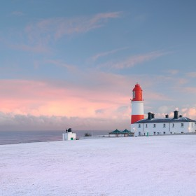 Sunset at Souter Lighthouse during Winter, Whitbrun, Tyneside, England.