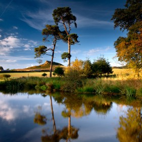 Roseberry Topping from Aireyholme Pond, North Yorkshire, England.