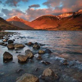 Sunset at Wastwater, Lake District National Park, Wasdale, Cumbria, England.