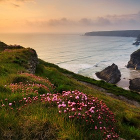 Sunset at Bedruthan Steps, Cornwall.