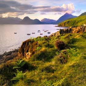 The Cuillin  Mountains from Elgol on a Summer mid Summer evening.