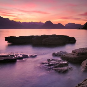 The Cuillin  Mountains from Elgol at sunset.