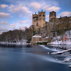 Durham Cathedral from the River Weir, Durham, England.