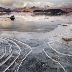 Ice contours by the side of  lochan na h-achlaise, Rannoch Moor, Scotland.