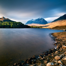 Liathach Mountain from Loch Clair, Scottish Highlands.