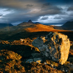 Assynt Mountains from Druim Bad a' Ghaill, Scottish Highlands.