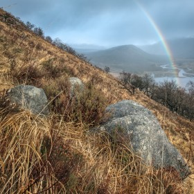 Rainbow over Glen Etive from Beinn Trilleachan.