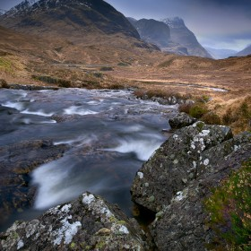 The three Sisters overlook the River Coe, Scotland.