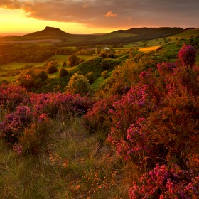 Roseberry Topping taken during a passing storm at sunset.