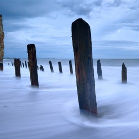 Liddle Stack, Seaham beach, County Durham at Twilight.