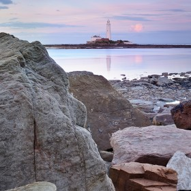 St Mary's lighthouse & reflection, summer evening.
