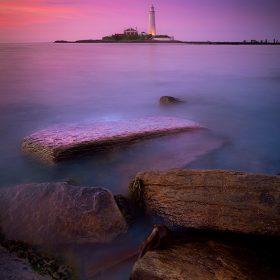 St Mary's Lighthouse at twilight.