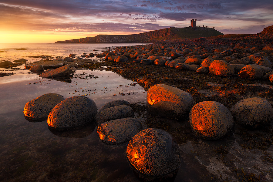 Sunrise at Dunstanburgh Castle.